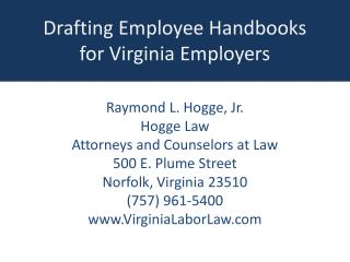 Drafting Employee Handbooks for Virginia Employers