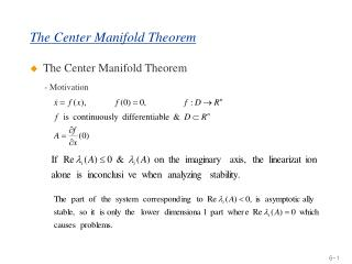 The Center Manifold Theorem