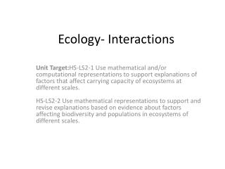 Ecology- Interactions