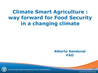 Climate Smart Agriculture :  way forward for Food Security in a changing climate