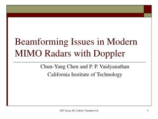 Beamforming Issues in Modern MIMO Radars with Doppler
