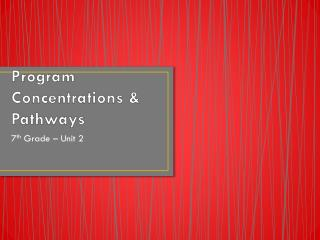 Program Concentrations & Pathways
