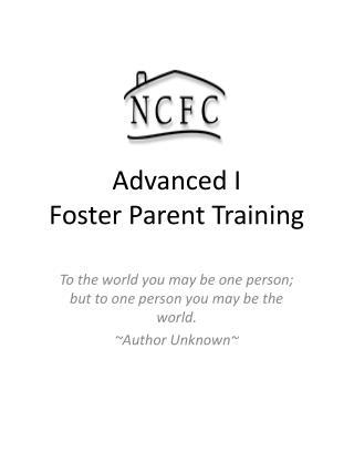 Advanced I  Foster Parent Training