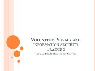 Volunteer Privacy and information security Training