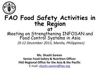 FAO Food Safety Activities in the Region at Meeting on Strengthening INFOSAN and Food Control Systems in Asia  (9-12 Dec