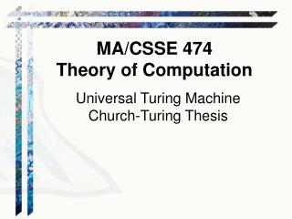 Universal Turing Machine Church-Turing Thesis