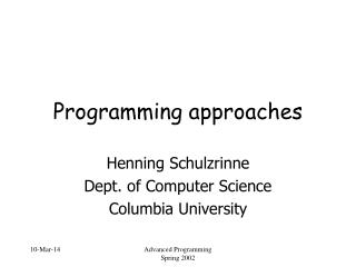 Programming approaches