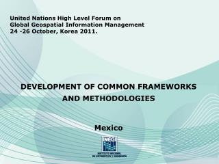 United Nations High Level Forum on Global Geospatial Information Management 24 -26 October, Korea 2011. DEVELOPMENT OF