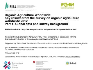 Research Institute of Organic Agriculture FiBL, Frick, Switzerland, in cooperation with the  International Federation of
