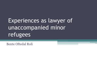 Experiences as  lawyer  of unaccompanied minor refugees