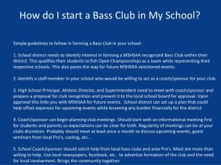 How do I start a Bass Club in My School?