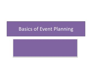 Basics of Event Planning