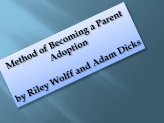 Method of Becoming a Parent Adoption by Riley Wolff and Adam Dicks
