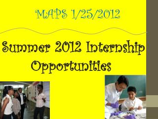 Summer 2012 Internship Opportunities