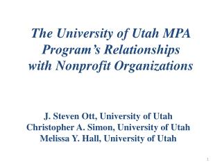 The University of Utah MPA Program's Relationships  with Nonprofit Organizations
