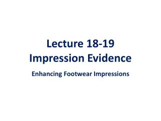 Lecture 18-19  Impression Evidence