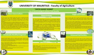 UNIVERSITY OF MAURITIUS - Faculty of Agriculture