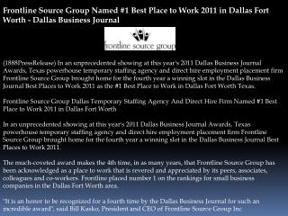 frontline source group named #1 best place to work 2011 in d