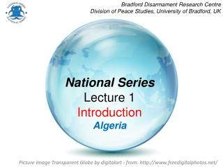 National Series Lecture 1 Introduction Algeria