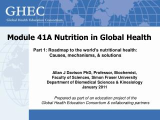 Module 41A Nutrition in Global Health