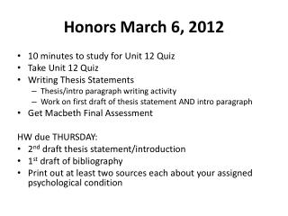 Honors March 6, 2012