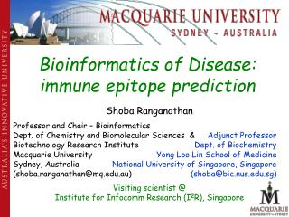 Bioinformatics of Disease: immune epitope prediction