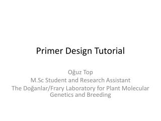 Primer  Design  Tutorial