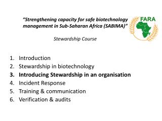 """Strengthening capacity for safe biotechnology management in Sub-Saharan Africa (SABIMA)"" Stewardship Course"