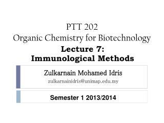 PTT 202 Organic Chemistry for Biotechnology