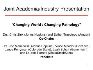 Joint Academia/Industry Presentation