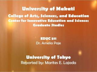 University of Makati College of Arts, Sciences, and Education Center  for Innovative Education and Sciences Graduate Stu