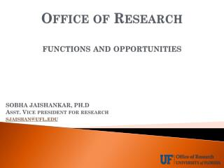 Office of Research functions and opportunities