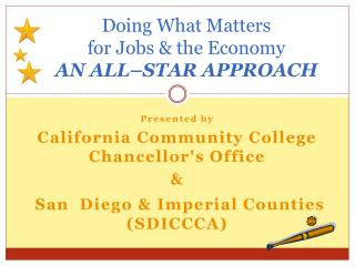Doing What  Matters  for Jobs & the Economy  AN  ALL–STAR  APPROACH