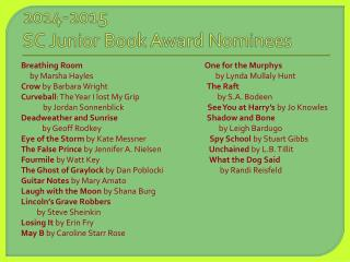 2014-2015   SC Junior Book Award Nominees