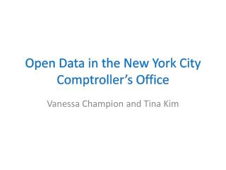 Open Data in the New York City Comptroller's Office