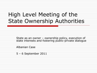 High Level Meeting of the State Ownership Authorities