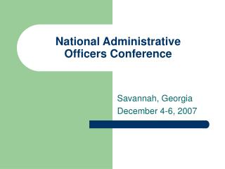 National Administrative Officers Conference