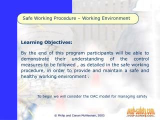 safe working procedure   working environment