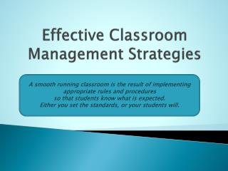 Effective Classroom Management Strategies