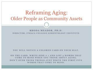 Reframing Aging: Older People as Community Assets