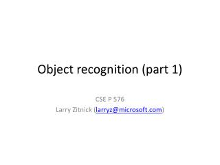 Object recognition (part 1)