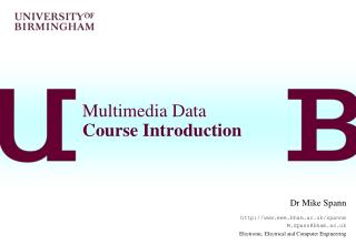 Multimedia Data Course Introduction
