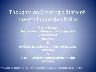 Thoughts on Creating a State-of-the-Art Innovation Policy