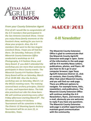 MARCH 2013 4-H Newsletter