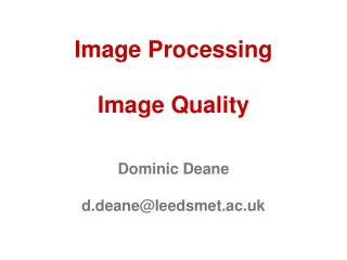 Image Processing Image Quality
