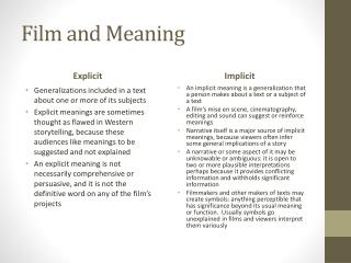 Film and Meaning