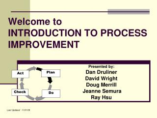 Welcome to  INTRODUCTION TO PROCESS IMPROVEMENT