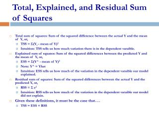 Total, Explained, and Residual Sum of Squares