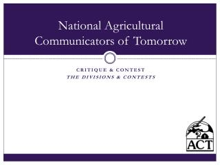 National Agricultural Communicators of Tomorrow