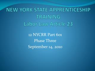 new york state apprenticeship training labor law article 23
